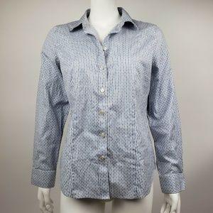 TALBOTS Blue White Button Down Shirt 10P